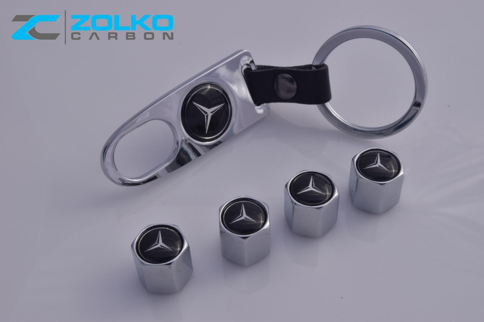 Mercedes benz valve stem caps keychain wheel tire chrome for Mercedes benz valve stem caps
