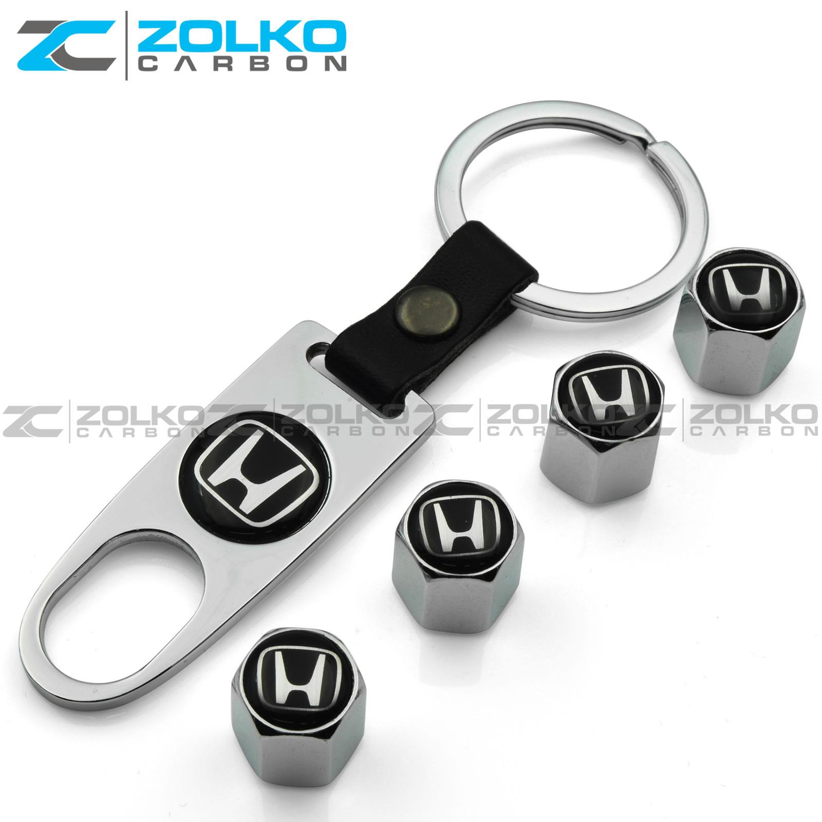tyre valve dust caps Gift Honda High Quality Chrome keyring keychain fob